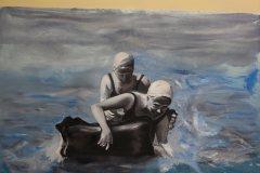 Hledači I - olej na plátně, 140 x 160, 2017