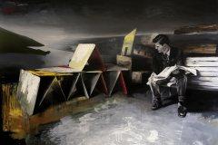 Zprávy - olej na plátně, 140 x 200 cm, 2020