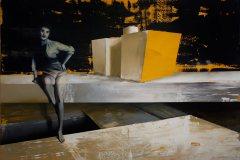 Stavím svůj svět na vratkých základech - akryl a olej na plátně, 140 x 200 cm, 2019 - soukromá sbírka ČR