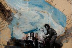 V dálce kvete ti štěstí - kombinovaná technika na plátně, 40 x 40 cm, 2018 - v nabídce Knupp Gallery