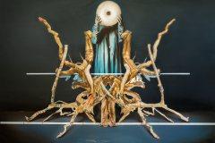 Prodavačka kořenů - olej a koláž na plátně 140  x 200 cm, 2020