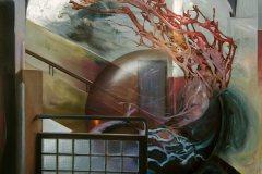 Návštěva odjinud - olej na plátně, 200 x 200 cm, 2021