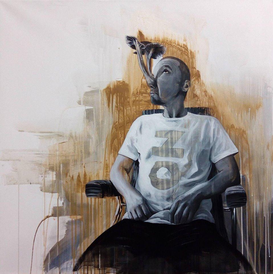 Falešný idol - akryl na plátně, 100 x 100 cm, 2017