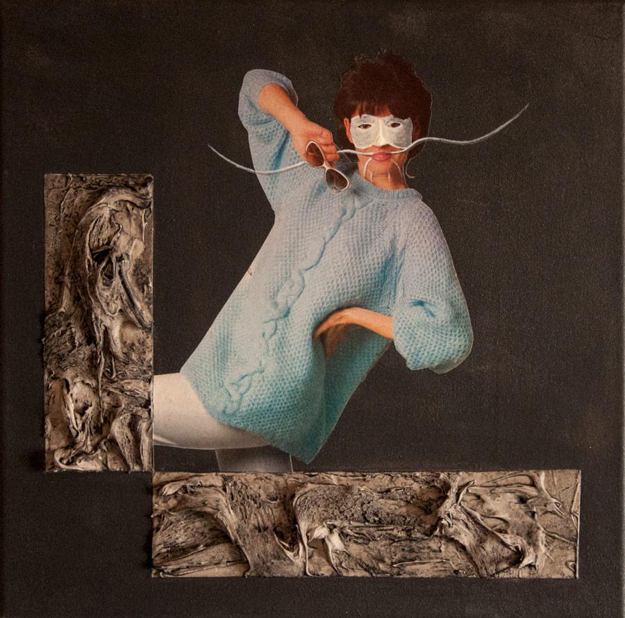Z cyklu Physiognomonia - akryl a koláž na plátně, 40 x 40 cm, 2017