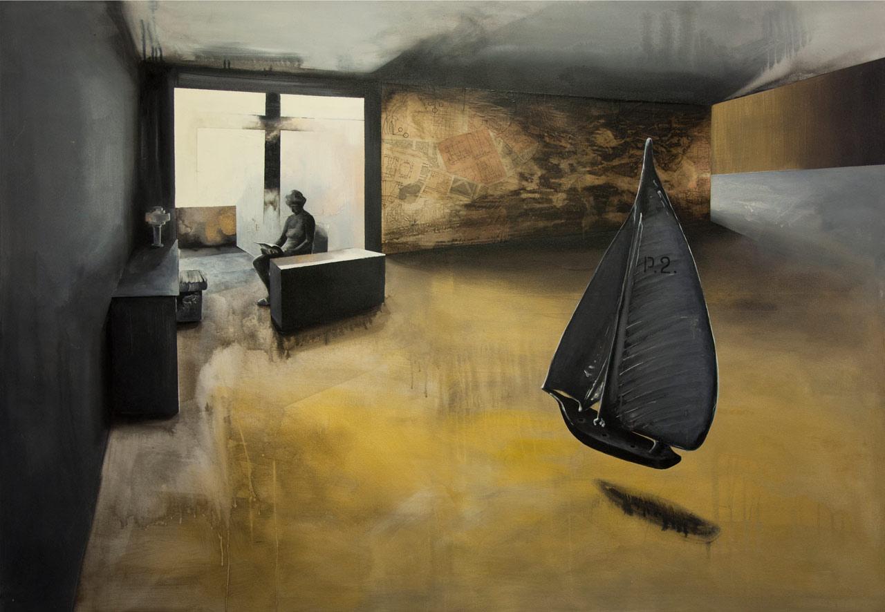 Čtenářka - arkyl na plátně, 200 x 140 cm, 2017
