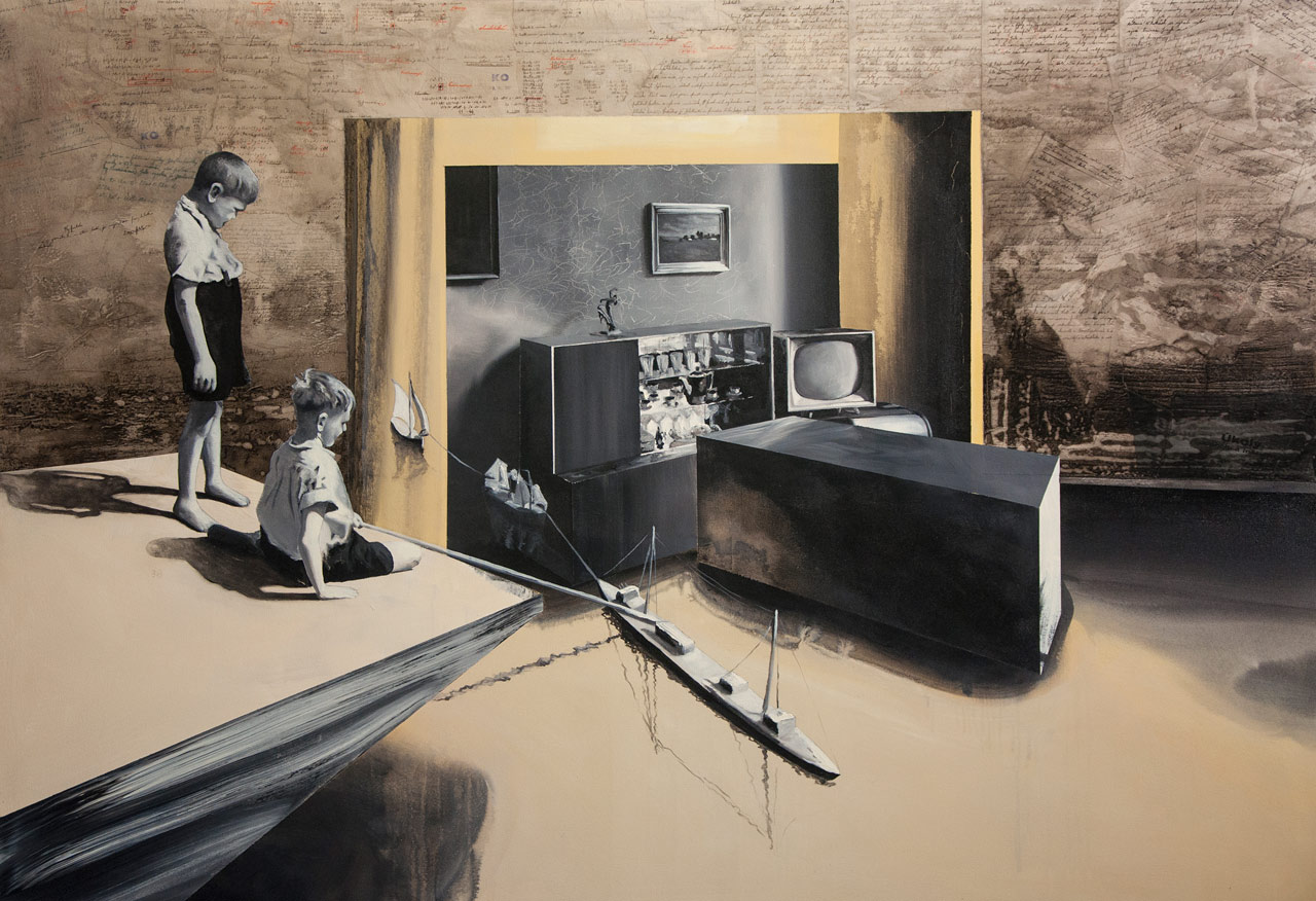 Hanebná úprava - arkyl na plátně, 200 x 140 cm, 2016, soukromá sbírka