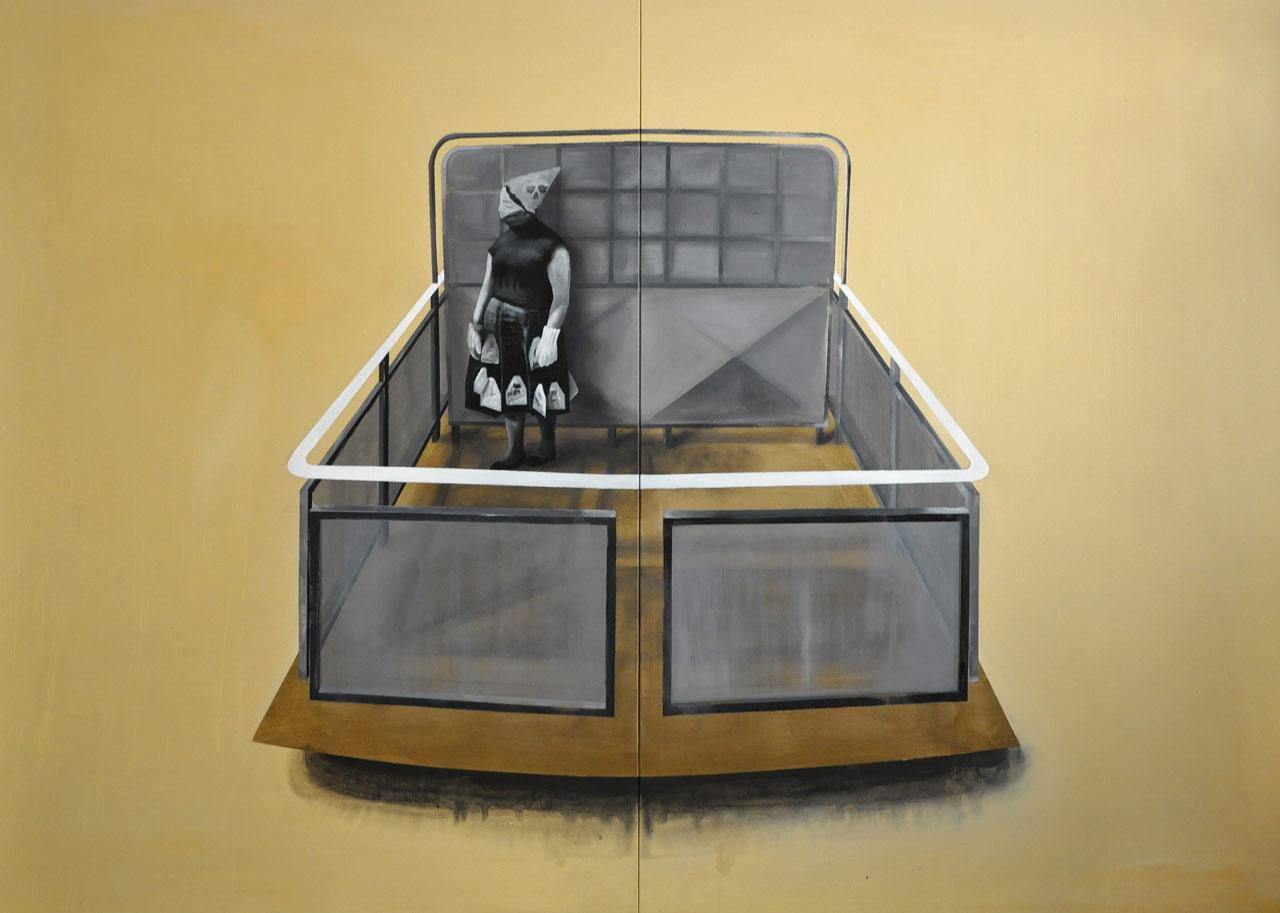 Hra - arkyl na plátně, 280 x 200 cm, 2016