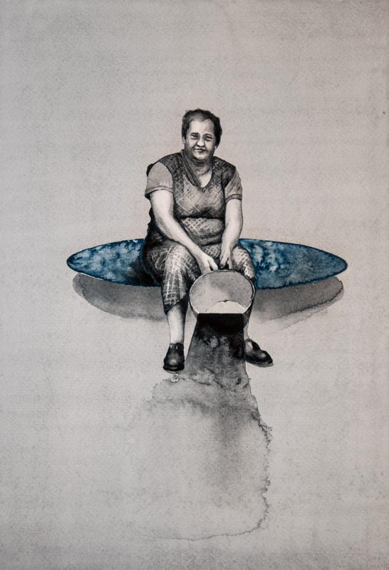 Na zápraží - akvarel, A2, 2017