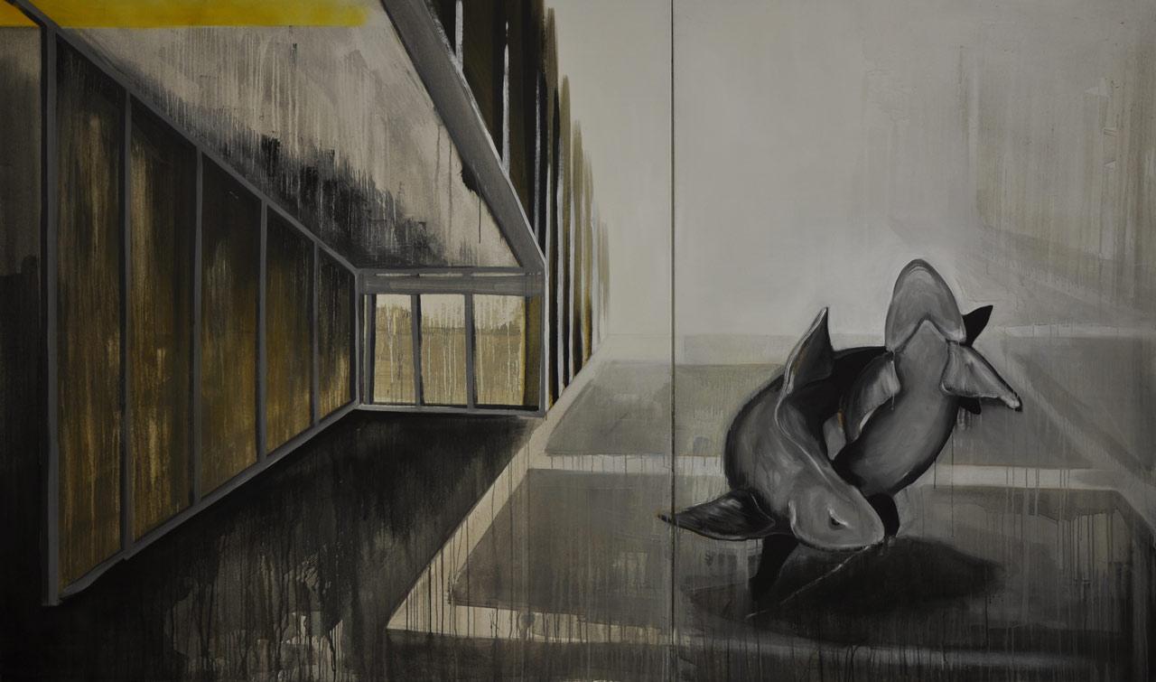Na recepci - akryl na plátně, 340 x 200 cm, 2012
