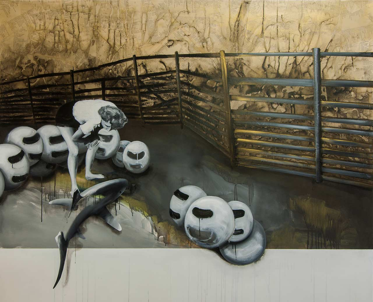 Oběť přinésti, za své činy budeš odměněn - arkyl na plátně, 200 x 165 cm, 2017