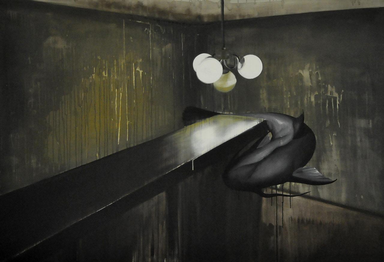 Poslední hra na honěnou - akryl na plátně, 200 x 140 cm, 2012, soukromá sbírka