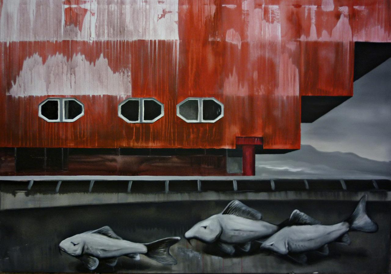 Prošli Hradcem Hrálové - akryl na plátně, 200 x 140 cm, 2012