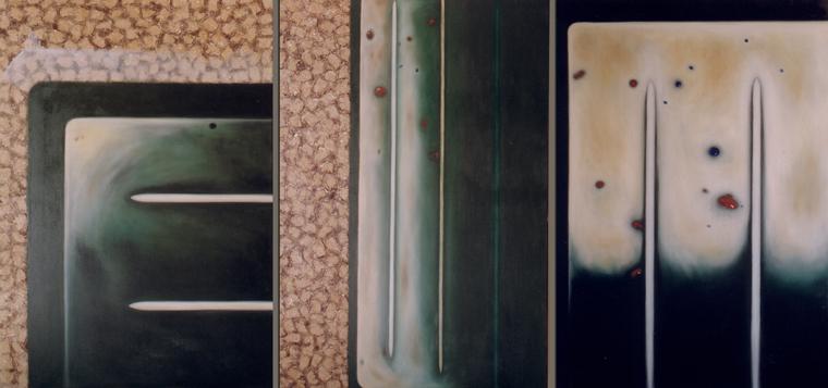 Dno (první tři důvody), olej na plátně,triptych - 130 x 90 každý, soukromá sbírka