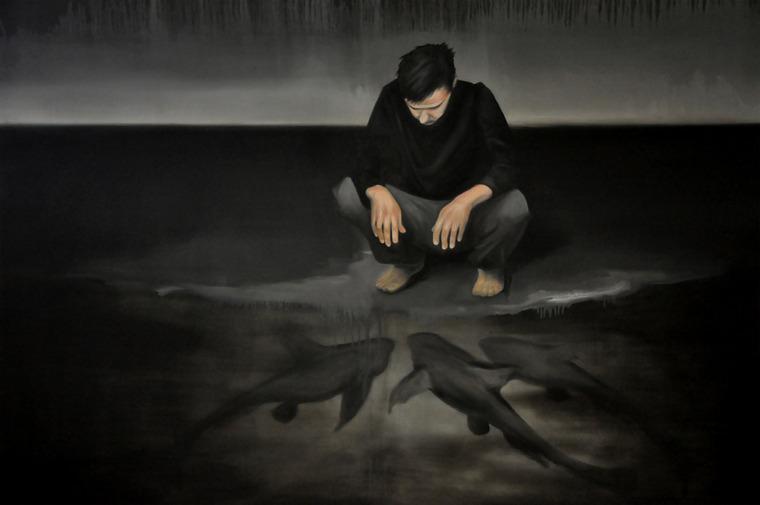 Z cyklu Vakuum, olej na plátně, 200 x 140 cm, 2011, soukromá sbírka