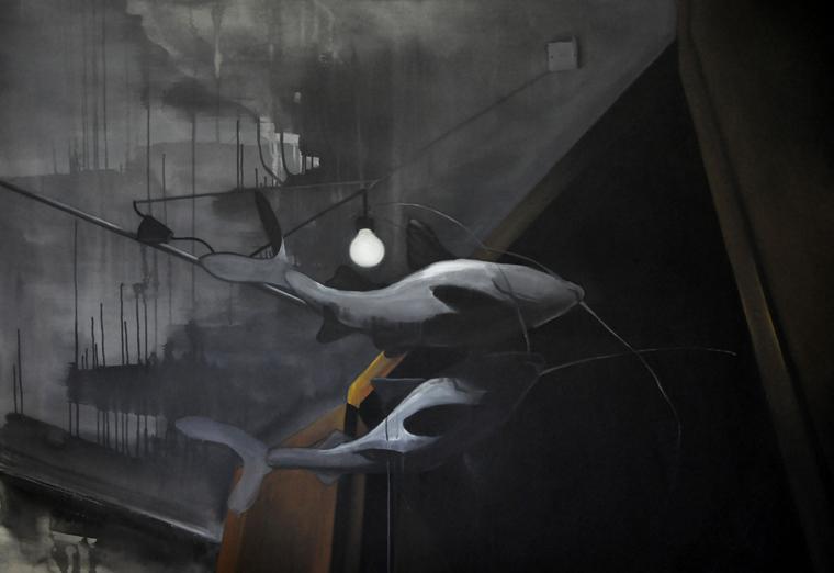 Tady někde to tehdy muselo být! - akryl na plátně, 200 x 140 cm, 2012, soukromá sbírka
