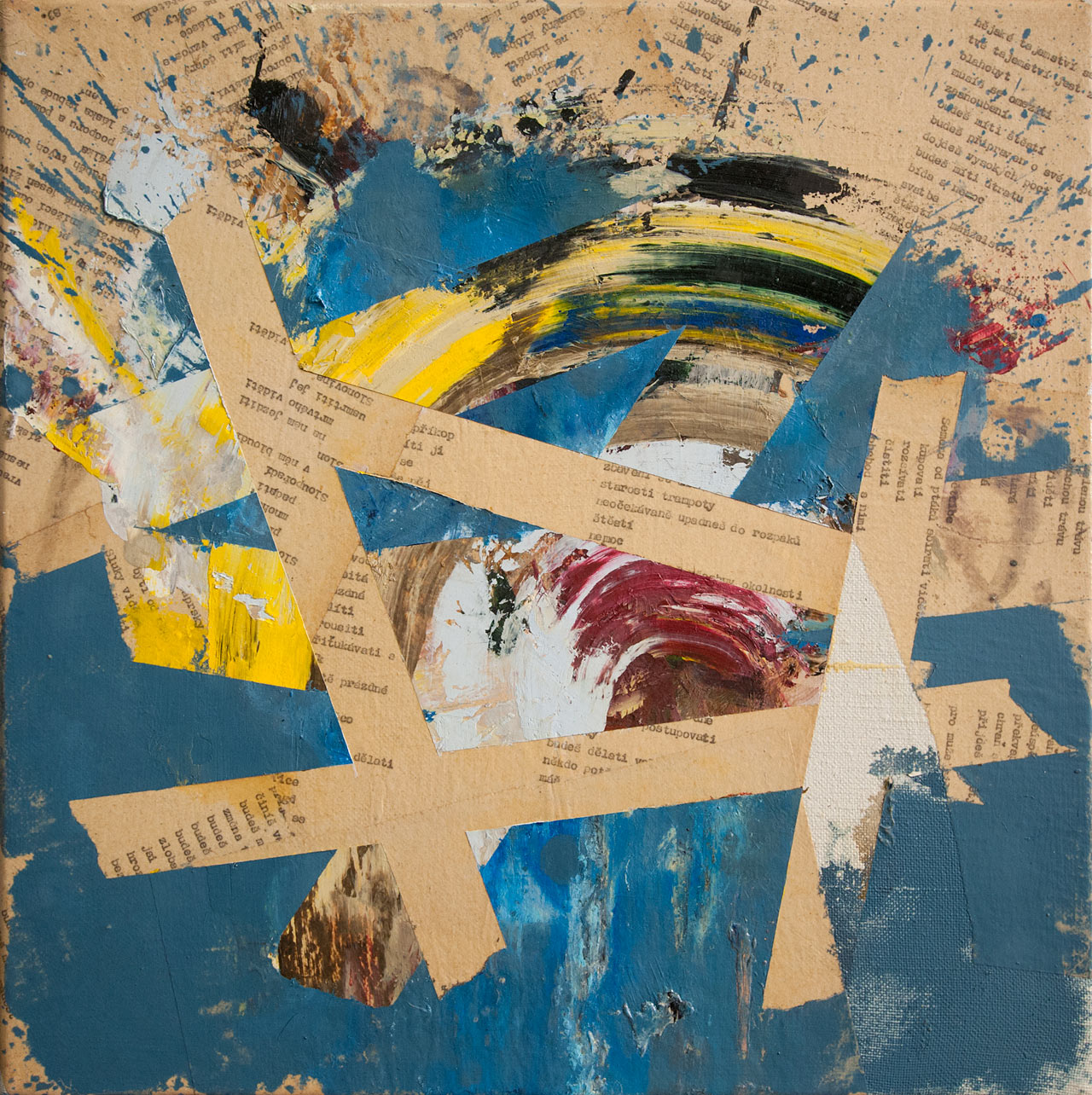Slavobrána - koláž a olej na plátně, 40 x 40 cm, 2018