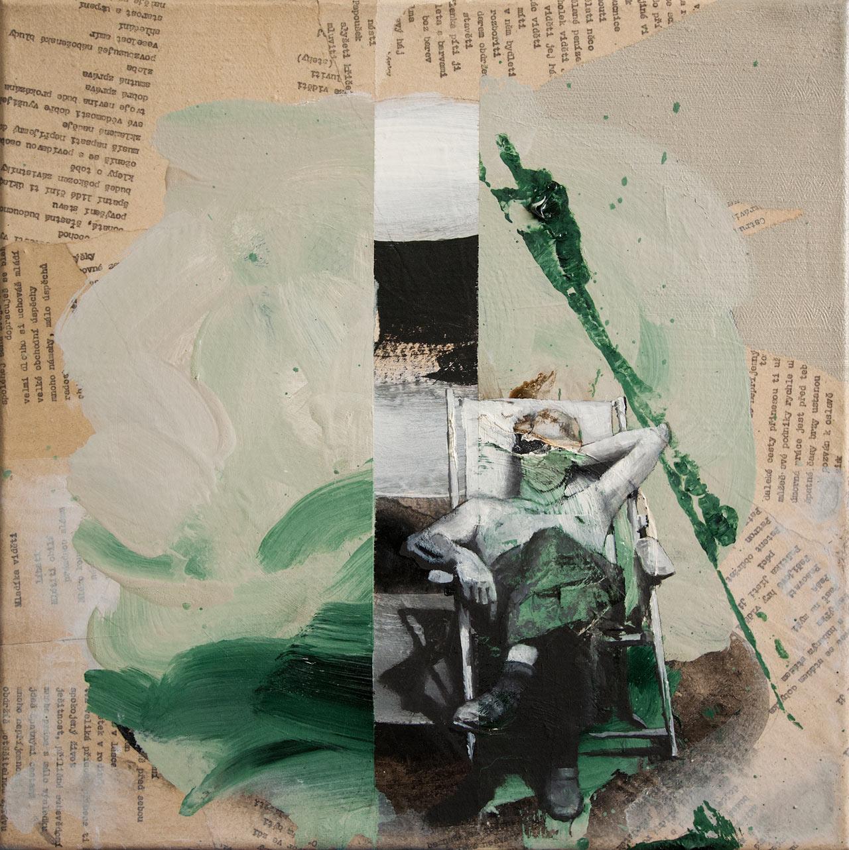 Úmorná práce jest před tebou - koláž a olej na plátně, 40 x 40 cm, 2018 - v nabídce Knupp Gallery