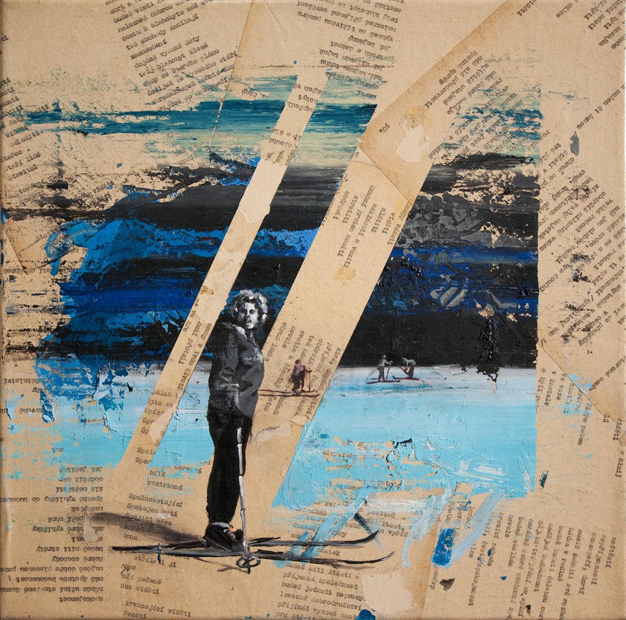 Příjemná společnost - koláz a olej na plátně, 40 x 40 cm, 2018 - v nabídce Knupp Gallery