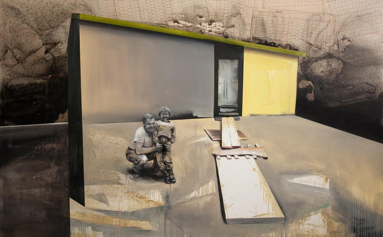 Chata bude - koláž, akryl a olej na plátně, 100x165cm