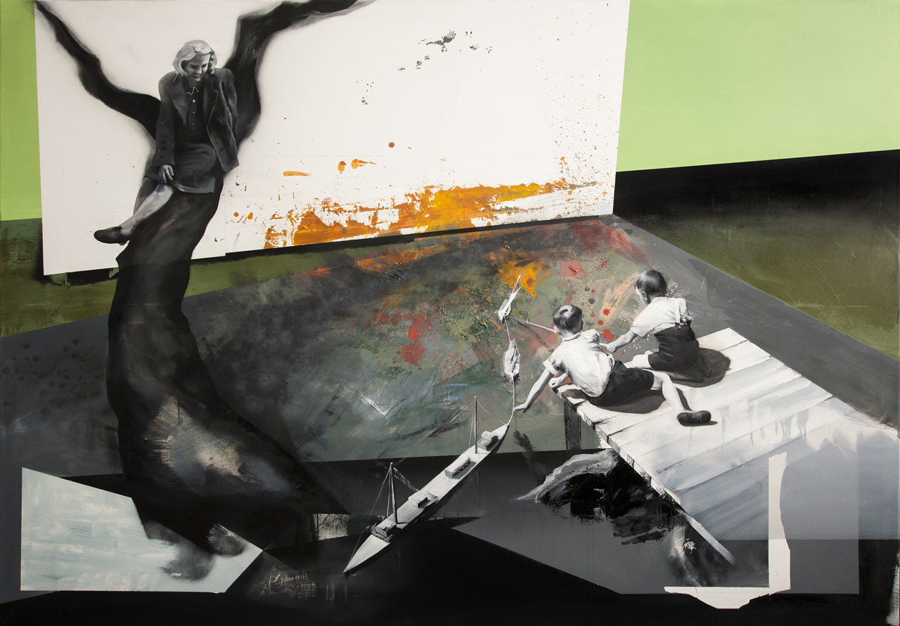 Nebezpečná situace - olej na plátně, 140 x 200 cm, 2018 - v nabídce Knupp Gallery