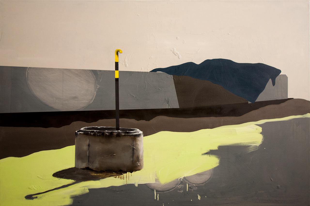 Krajina s plynem - akryl a olej na plítně, 100x160cm