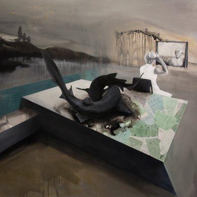 Zrcadlo - arkyl na plátně, 200 x 140 cm, 2016