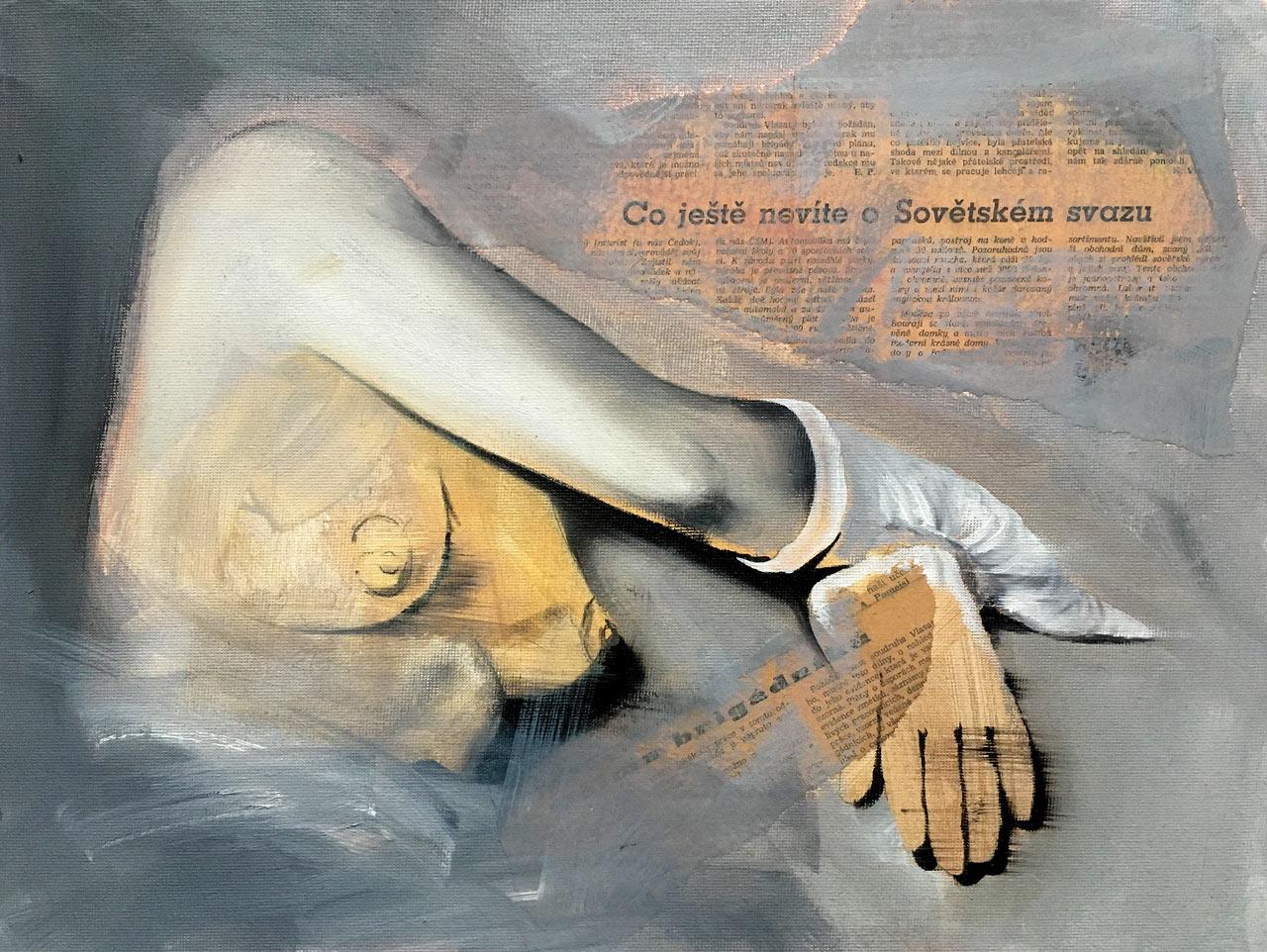 Co ještě nevíte - olej na desce, 30 x 40 cm, 2018 - v nabídce Knupp Gallery