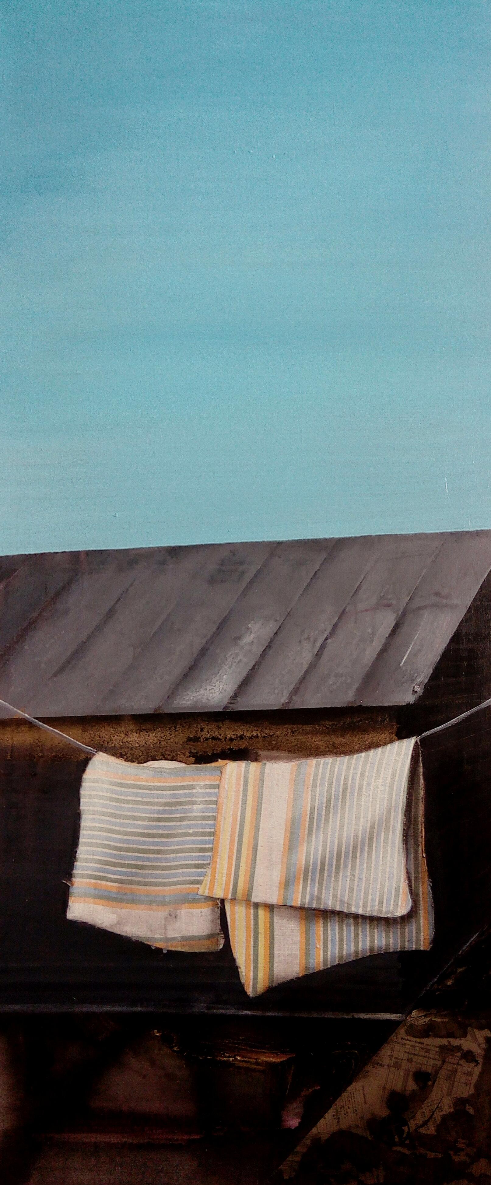 Na chatě - akryl a olej na plátně, 45 x 110 cm, 2017, soukromá sbírka