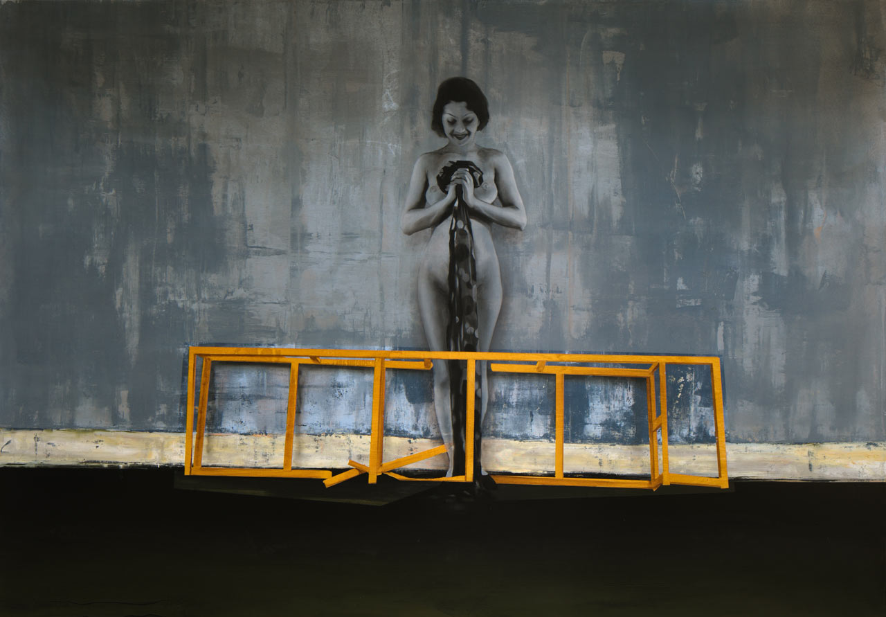 Stavím pro tebe zlatou klec - akryl a olej na plátně 140 x 200 cm, 2019