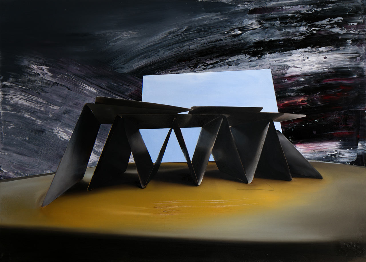Dům z černých karet - olej na plátně 100 x 140 cm, 2020
