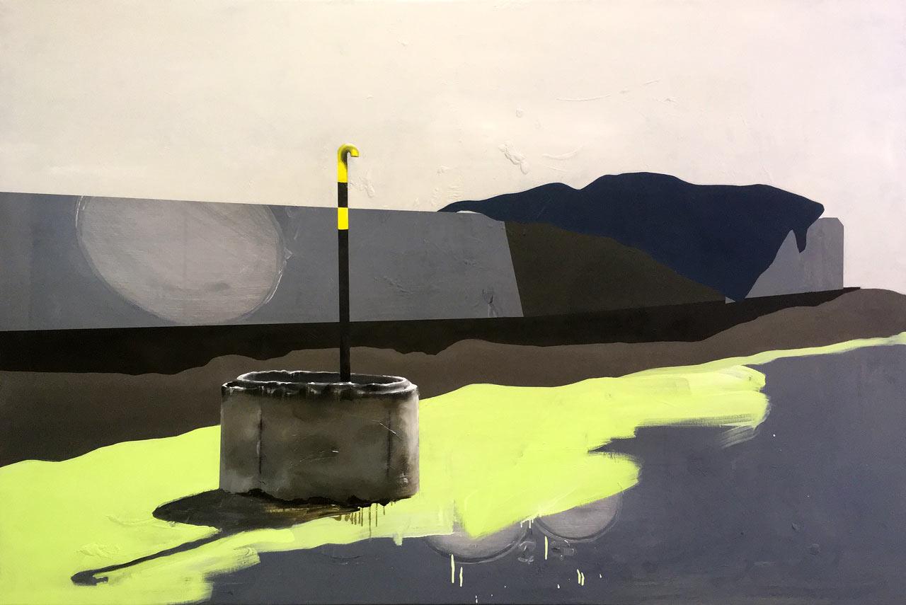 Krajina - akryl a olej na plátně, 140 x 100 cm, 2018