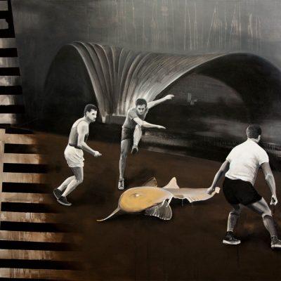 Lov - arkyl na plátně, 200 x 140 cm, 2017