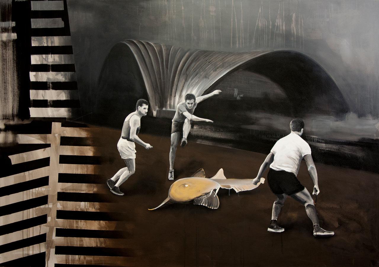 Lov - akryl na plátně, 140 x 200 cm, 2017
