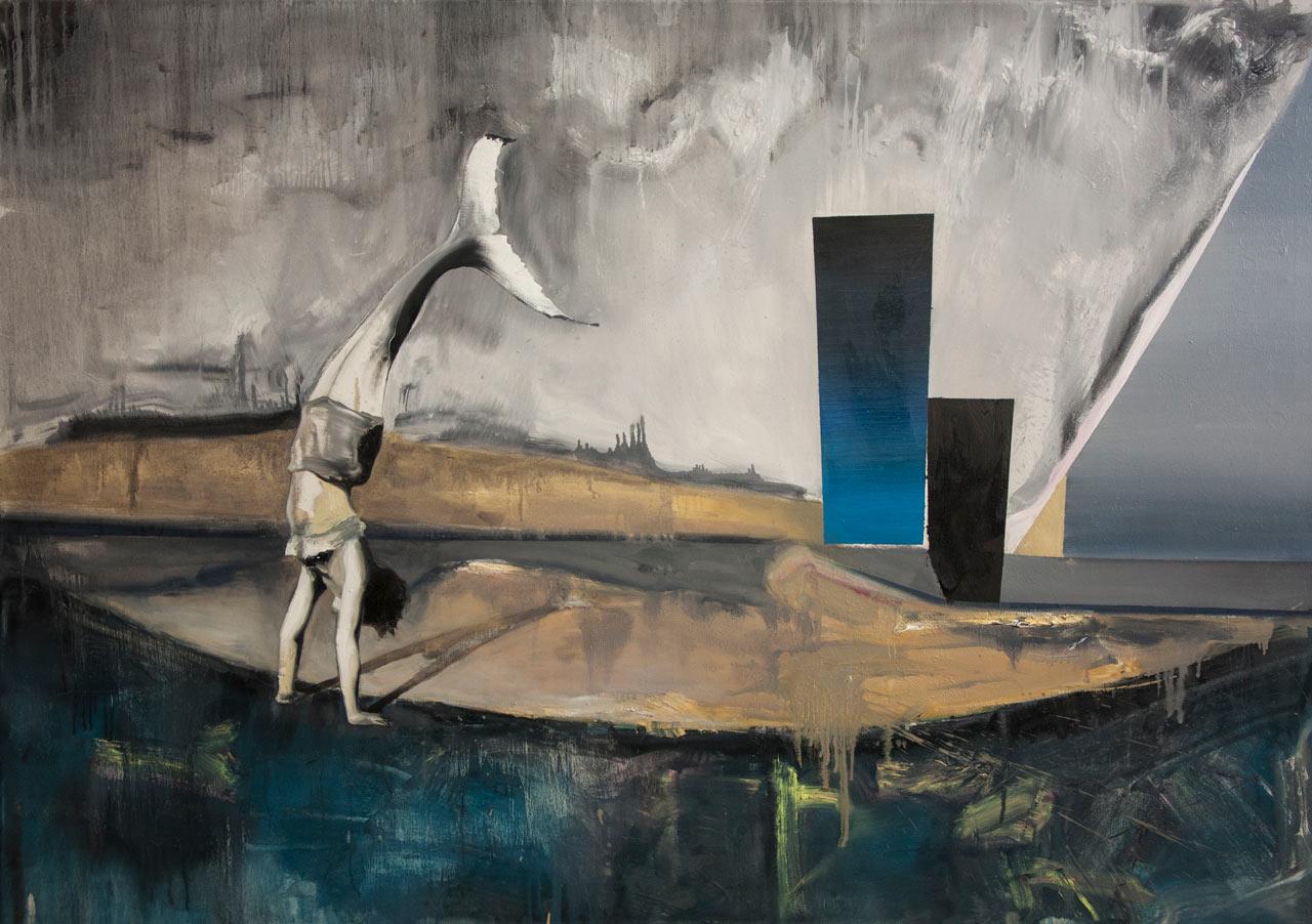 Mořská panna - olej na plátně, 200 x 140 cm, 2017
