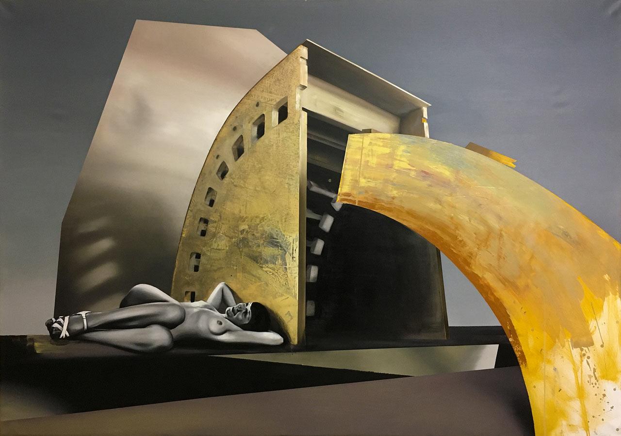 Prstem po mapě - olej a koláž na plátně 140 x 200 cm, 2020