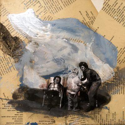 V dálce kvete ti štěstí - akryl, olej a koláž na plátně, 40 x 40 cm, 2018