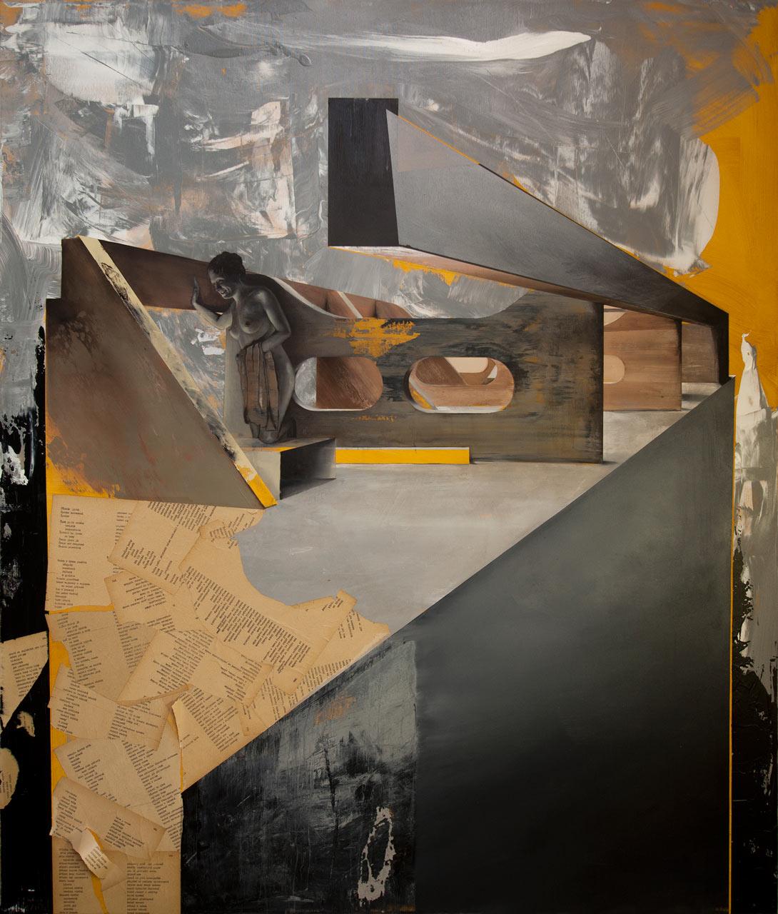 Stříbro surové - neškodilo by ti trochu zbožnosti - akryl, olej a koláž na plátně, 165 x 140 cm, 2019 - v nabídce Knupp Gallery
