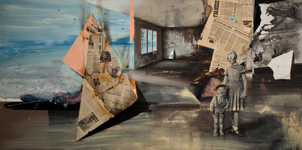 Nemyslitelné - akryl, olej a koláž na plátně, 100 x 200 cm, 2019