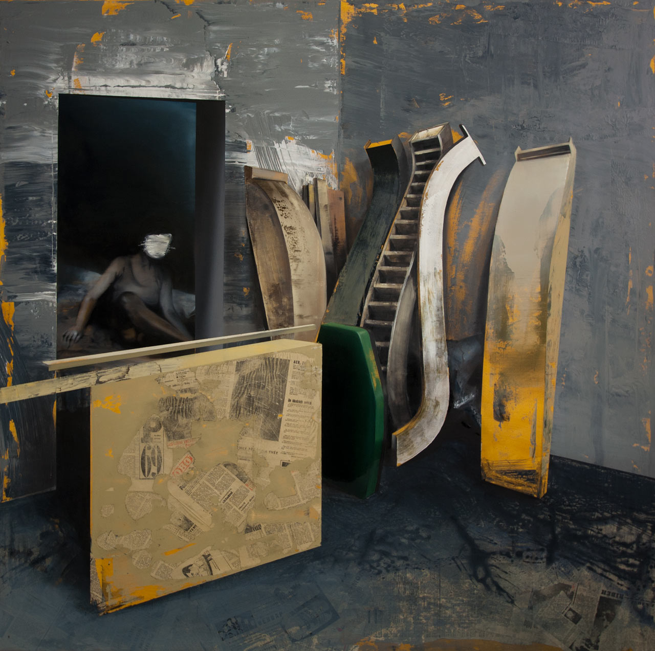 Levitace - akryl, olej a koláž na plátně, 165 x 165 cm, 2019