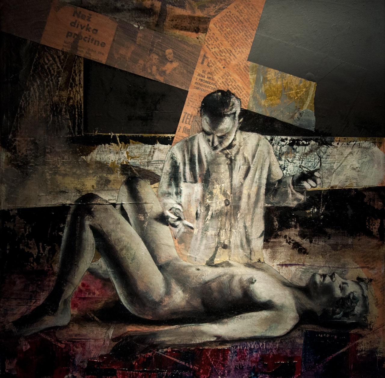 Než dívka procitne - olej a koláž na plátně, 40 x 40 cm, 2019