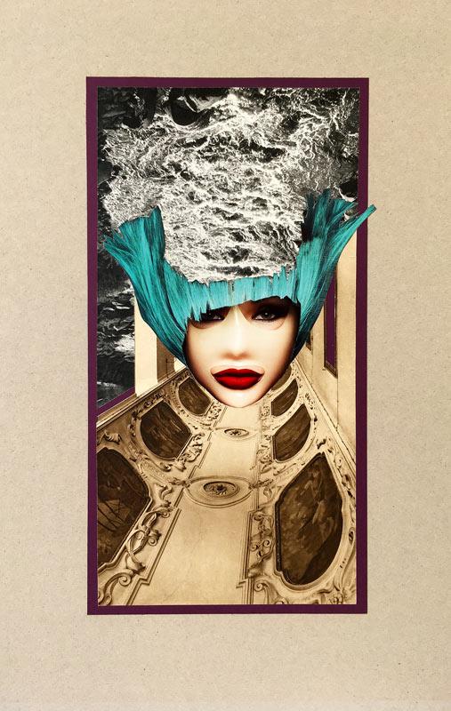 Mask - koláž na kartonu, 70 x 50 cm, 2020