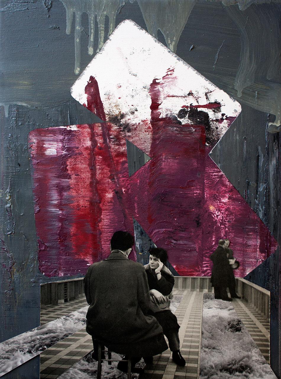 Bored at the gallery - koláž a olej na plátně 40 x 30 cm, 2020
